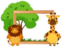 Modèle de bordure avec lion et girafe