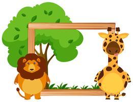 Plantilla de frontera con león y jirafa.