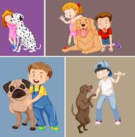 Niños y mascotas. vector