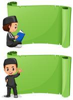 Niño musulmán y plantilla de banner verde