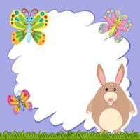 Plantilla de borde con conejo marrón
