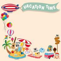 Border design with summer theme vector