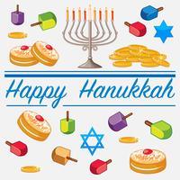Modello di carta felice Hanukkah con cibo e candele