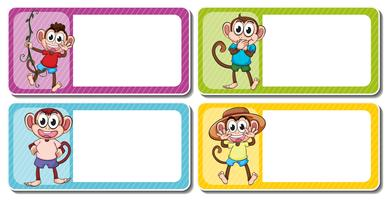 Square lables with cute monkeys