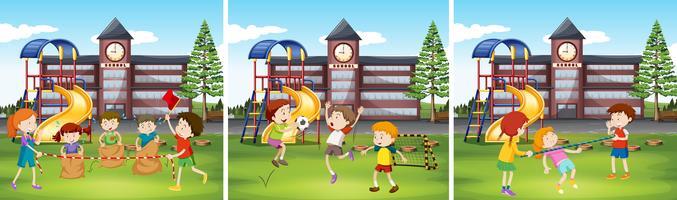 Crianças, tocando, em, a, escola, chão