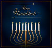 Modello di carta felice Hannukkah con candele su sfondo blu