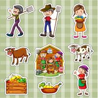 Sticker set for farmers and crops