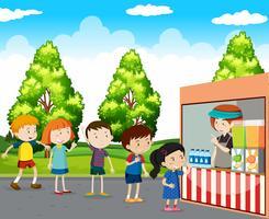 Crianças, comprando, bebidas, parque