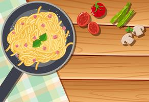Background template with pasta in pan