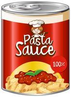 Sauce pour pâtes en conserve avec étiquette rouge