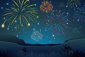 Escena nocturna con fuegos artificiales en el cielo