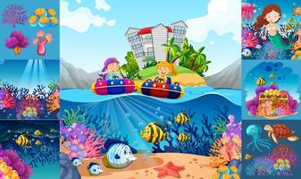 Escenas marinas con niños y animales marinos.