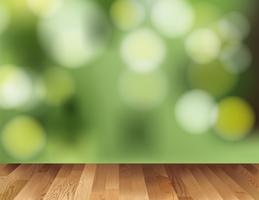 Background template with wooden floor and green light