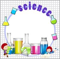 Border design with children and science equipments