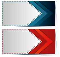 Etikettenvorlage mit blauem und rotem Pfeil