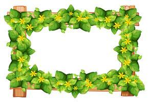 Diseño de marco con hojas y flores. vector