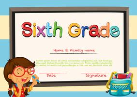 Diploma template with little girl and schoolbag
