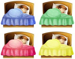 Uma menina dormindo em uma cama