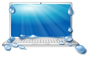 Computer laptop and ocean scene on screen