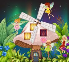 Feen, die nachts um das Pilzhaus fliegen
