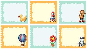 Etikettendesign mit vielen Spielsachen