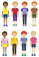 Eight faceless kids standing