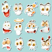 Different facial expression on blue background vector