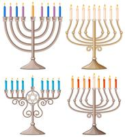Happy Hanukkah with different designs of candle holders