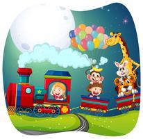 Chicas y animales en tren.