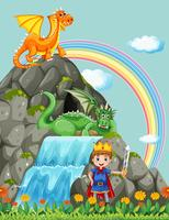 Prince and dragons at the waterfall