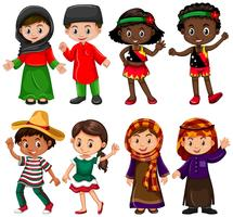 Boys and girls in traditional costumes vector