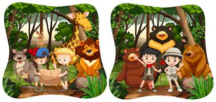 Kinder und wilde Tiere im Dschungel