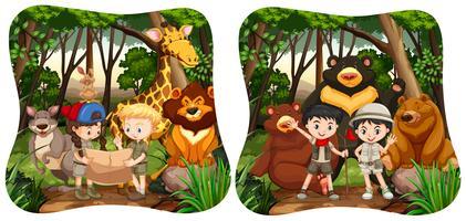 Crianças e animais selvagens na selva
