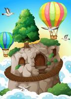 Höhle und Luftballons