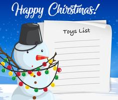 Feliz Navidad juguetes lista muñeco de nieve concepto