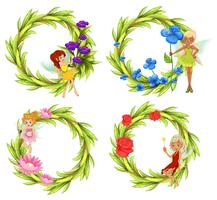Fées volant autour du bouguet de fleurs