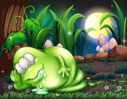 Een monster dat in het bos slaapt