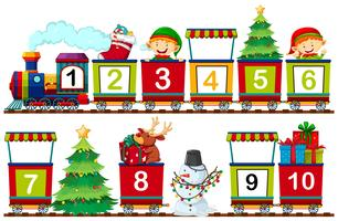 Set of christmas number on train