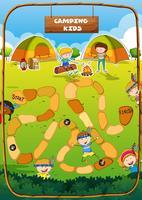 Bordspel sjabloon met camping thema