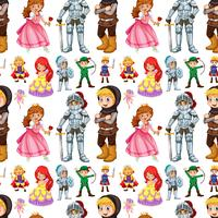 Seamless fairytales characters with prince and princess
