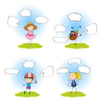 Set of girl with speech bubble