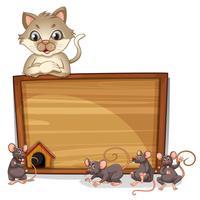 En katt och råttor banner