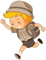 Boy in safari costume running