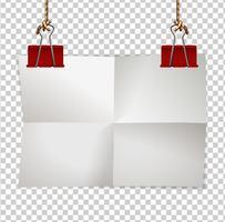 Plantilla de borde con clips de papel y rojos