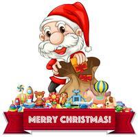 Jul tema med Santa och många leksaker