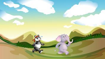 Een panda en een olifant die langs de bergen lopen