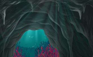 Nature scene of cave under the sea