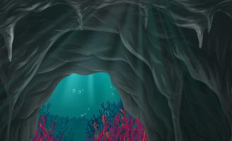 Cena da natureza da caverna sob o mar