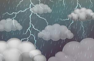 Escena del cielo con truenos y lluvia.