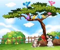 Background scene with birds on the tree and bunnies on the grass